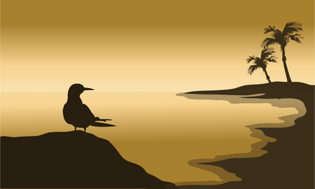 Silhouette of one bird in beach at the sunset 일러스트