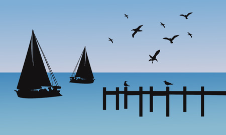 jetty: Silhouette of ship and pier with blue backgrounds Illustration