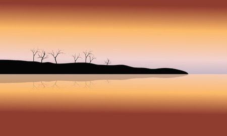 dry: Silhouette of dry tree in islands at the sunset Illustration