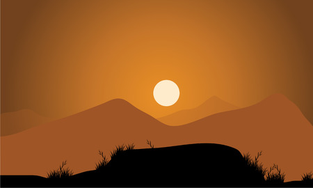 overlooking: illustration. Golden sunset in the mountains Illustration