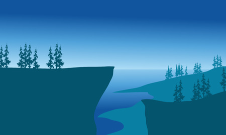 cliffs: Cliffs of silhouette at the night with blue backgrounds