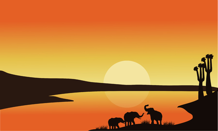 serengeti: Elephant family of silhouette at the sunrise
