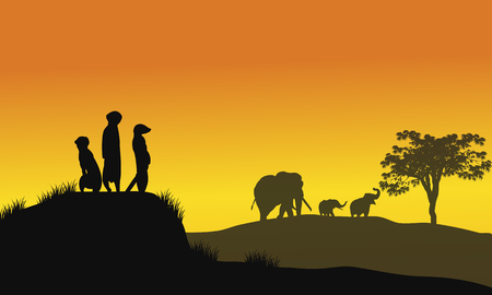 weasel: Silhouette of weasel and elephant at the sunset Illustration