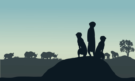 mongoose: Silhouette of meerkat and rhino in the hills Illustration