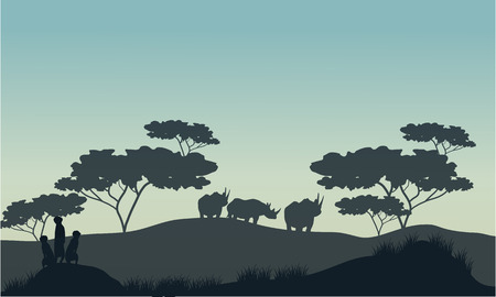 mongoose: Meerkat and rhino silhouette in savannah with gray backgrounds