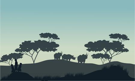 meerkat: Meerkat and rhino silhouette in savannah with gray backgrounds