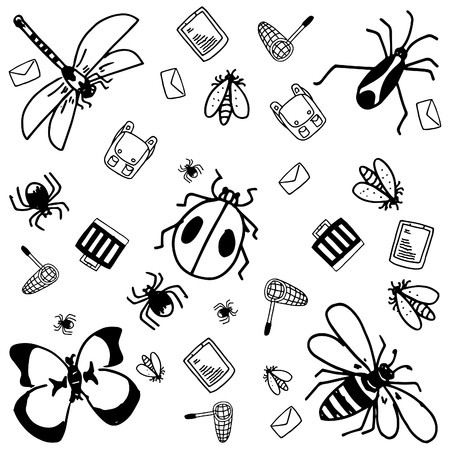 Insects doodle for kids black and white backgrounds Иллюстрация