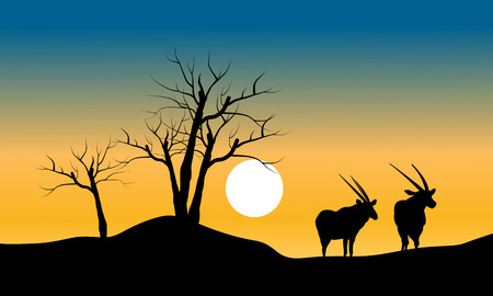 Silhouette of dry tree and antelope at the morning Иллюстрация
