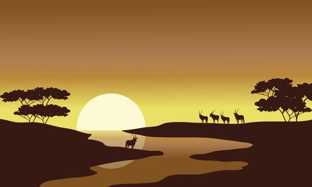 riverbank: Silhouette of zebra in riverbank at tthe morning Illustration