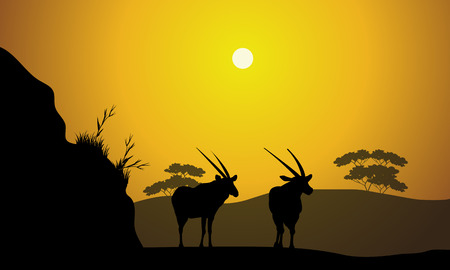 Scenery morning in hill with antelope and yellow backgrounds Illustration