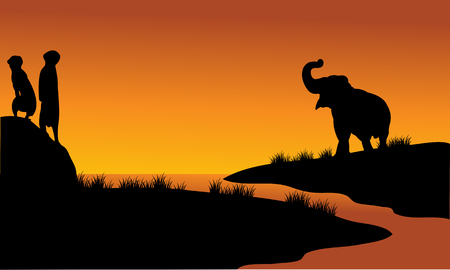 Meerkat and elephant in riverbank with orange backgrounds