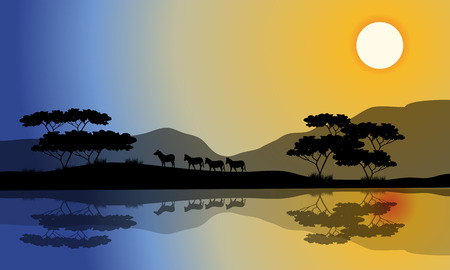 riverbank: Beautiful silhouette of zebra in riverbank with reflection Illustration