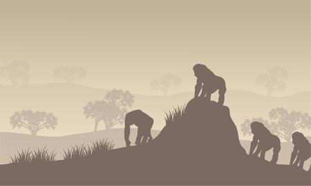 Gorilla groep silhouet in de heuvels met grijze achtergronden Stockfoto - 56606968
