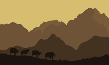 Silhouet van de stier in de bergen met bruine achtergronden