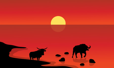 Silhouette of bull in lake with red backgrounds Illustration