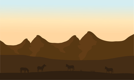 riverbank: Silhouette of zebra in desert with brown backgrounds Illustration