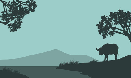 riverbank: Single bison of silhouette in the riverbank Illustration