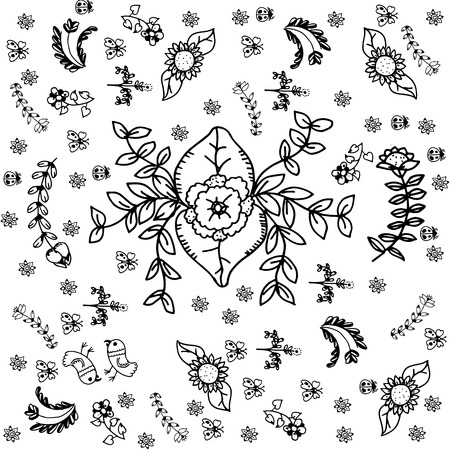 ink sketch: Vector set of doodle flowers with black and white bakcgrounds