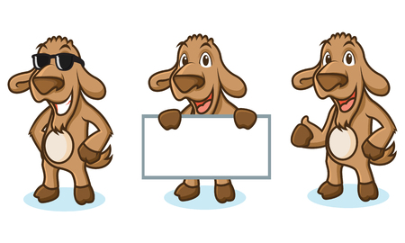 brown goat: Brown Goat Mascot happy, pose and bring board Illustration