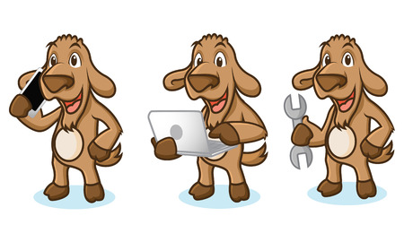 brown goat: Brown Goat Mascot with laptop, phone and tools