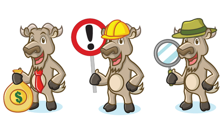 burly: Burly Wood Goat Mascot with money, sign and magnifying