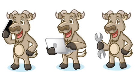 laptop mascot: Burly Wood Mascot with laptop, phone and tools