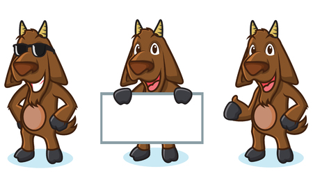 brown goat: Dark Brown Goat Mascot pose, happy and bring board