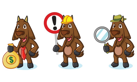 dark brown: Dark Brown Goat Mascot with sign, money and tools Illustration