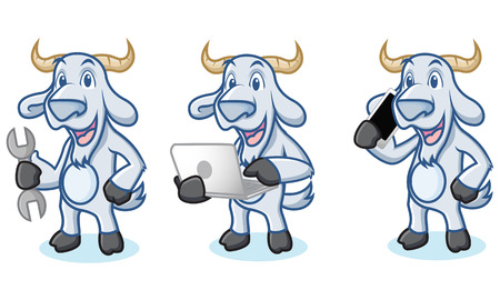 laptop mascot: Light Blue Goat Mascot with phone, laptop and tools