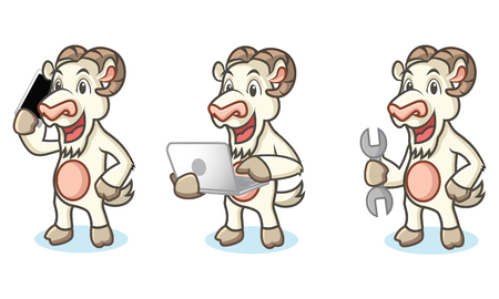 laptop mascot: White Goat Mascot with laptop, phone and tools Illustration