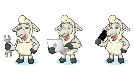 laptop mascot: Beige Sheep Mascot with phone, laptop and tools Illustration