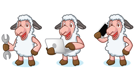 laptop mascot: White Sheep Mascot with laptop, phone and tools