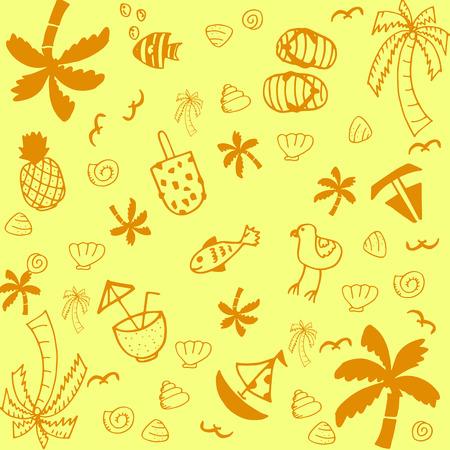 blanket fish: Summer illustrations of doodle art