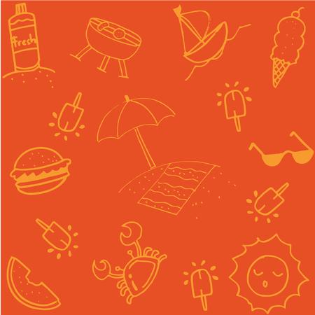 watermelon boat: Summer of doodle art for kids orange backgrounds Illustration