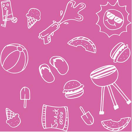 swim cap: Set of piknik doodle art