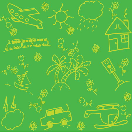 green crab: Travel holiday of doodle art with green backgrounds
