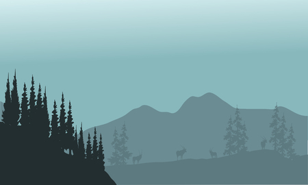 Landscape hills with spruce and antelope silhouette a beautiful