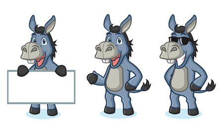 Blue Donkey Mascot happy, pose and bring board
