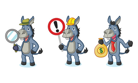 Blue Donkey Mascot with sign, money and magnifying Stock Illustratie