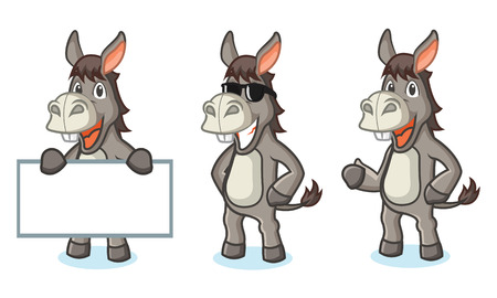 Gray Donkey Mascot happy, pose and bring board