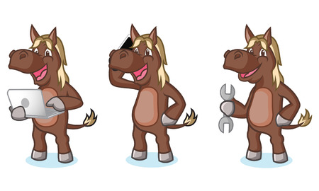 brown horse: Dark Brown Horse Mascot with phone, laptop and tools Illustration