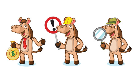 light brown horse: Light Brown Horse Mascot with sign, money and magnifying Illustration