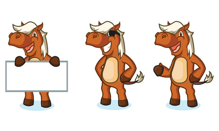 sienna: Sienna Horse Mascot happy, pose and bring board Illustration