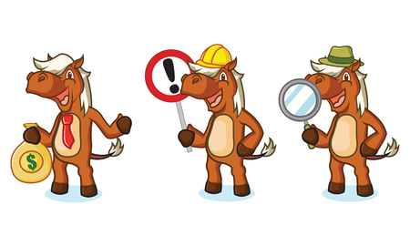 sienna: Sienna Horse Mascot with magnifying, money and sign