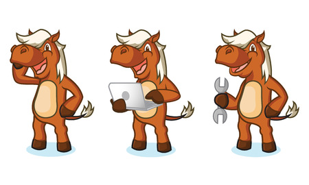 laptop mascot: Sienna Horse Mascot with laptop, tools, and phone Illustration
