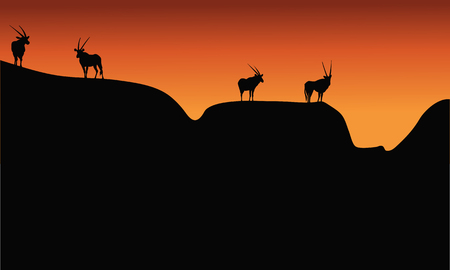 Silhouette of antelope on mountain at the afternoon Illustration