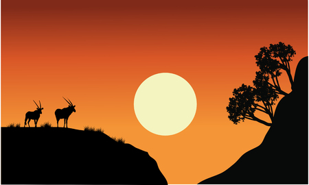 plant stand: Silhouette of antelope with sun at the sunset Illustration