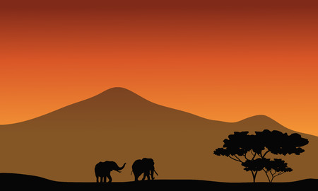 silhouete: Silhouete of elephant in fields with mountain backgrounds Illustration