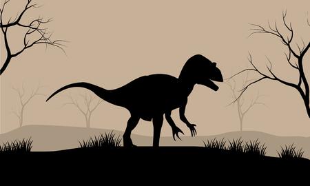 tyrannosaur: Silhouette illustration of Tyrannosaurus in the forest Illustration