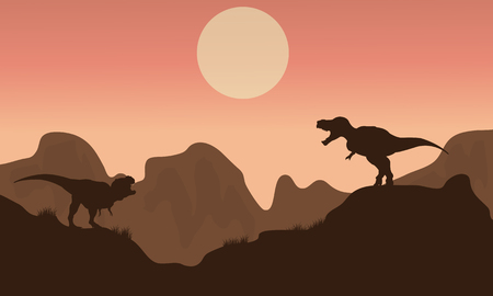 tyrannosaur: Silhouette of T-rex in cliff with sun at the morning